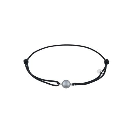 Bracelet cordon noir et sa perle argent