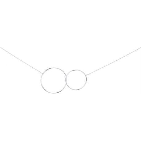 Collier double anneaux argent FD Prestige