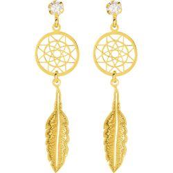 Boucles d'oreilles plume Or 18 carats jaune FD Prestige