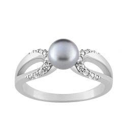 Bague Argent perle grise FD Prestige