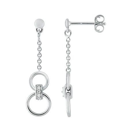 Boucles d'oreilles pendantes fines argent FD Prestige