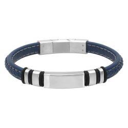 Bracelet Homme,  Cuir bleu