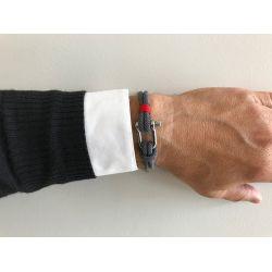 Bracelet homme double corde grise