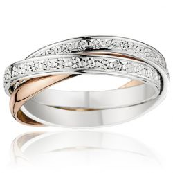 Alliance femme 2 ors 18 carats diamantés