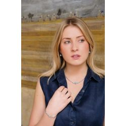 Collier pierre naturelle Larimar bleu clair