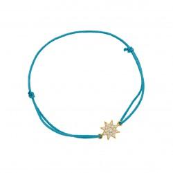 Bracelet cordon bleu mer et son médaillon