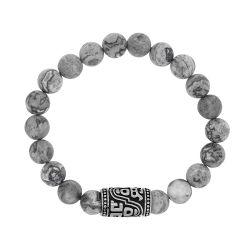 Bracelet homme perles jaspe grises