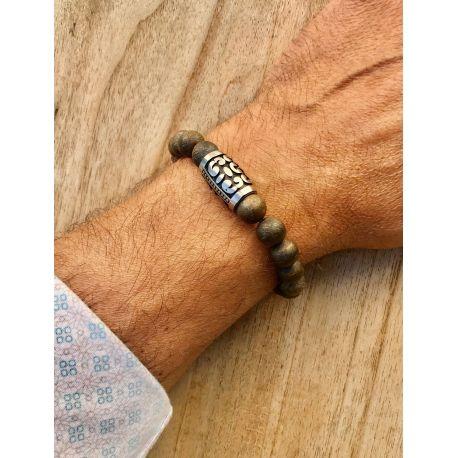 """""""Baroudeur"""" Bracelet perles brunes"""