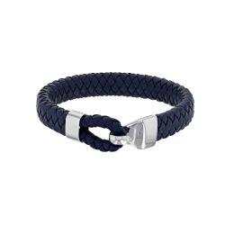 Bracelet Homme cuir tressé bleu