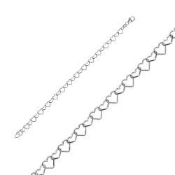 Bracelet Argent chaine de coeur