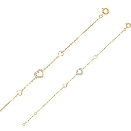 bracelet 3 coeurs plaqué or