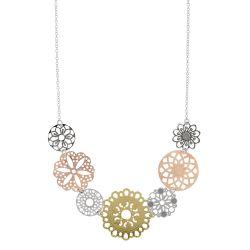 Collier composition florale en argent et doré rosé