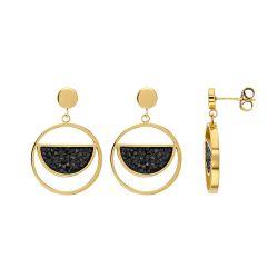 Boucles d'oreilles acier doré avec cristaux noirs