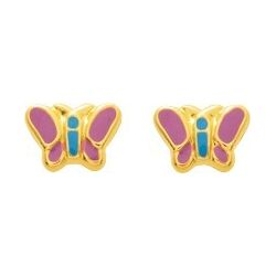 Boucles d'oreilles papillon or à vis