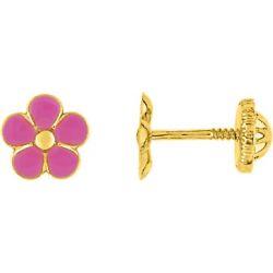 Boucles d'oreilles Fleur rose or à vis