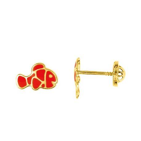 Boucles d'oreilles or 9 carats poisson Némo