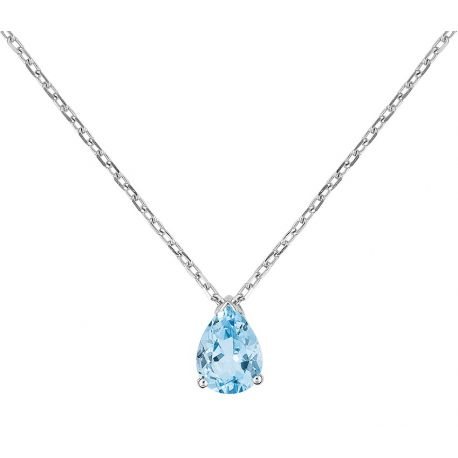 Collier or blanc 9 carats, topaze