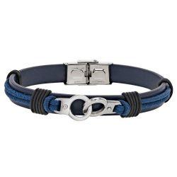 Bracelet Menottes  acier/cuir