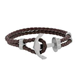 Bracelet cuir tressé ancre marine