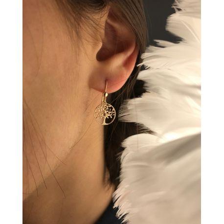 """Boucles d'oreilles """"arbre de vie"""" plaque or"""